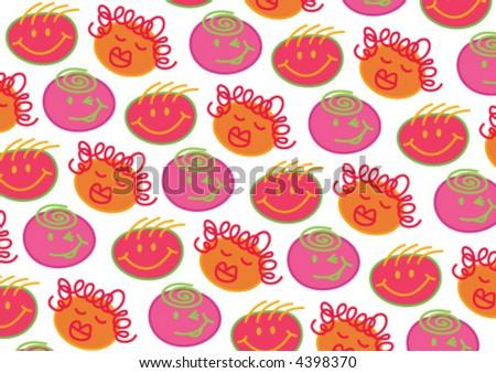 pink orange bubblegum heads on white (vector) - illustrated cartoon background - stock vector