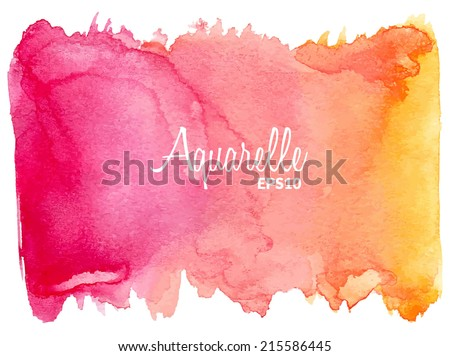 Pink-orange watercolor vector background. - stock vector