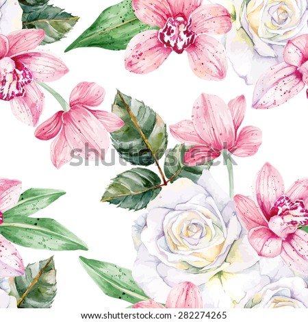 Pink orchids and white roses. Seamless, hand-painted, watercolor pattern. Vector background.