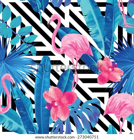 pink orchids, flamingo and blue palm leaves pattern. Geometric black and white background - stock vector