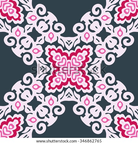 pink ornamental tiled  Abstract Floral Vector Pattern
