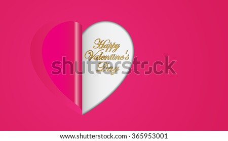Pink paper hearts  folding  Valentines day greeting card - stock vector