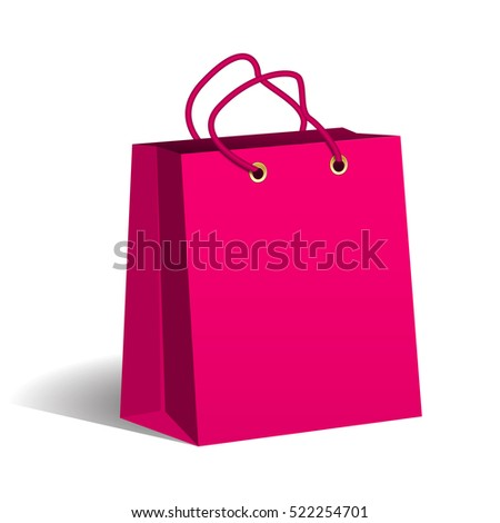 Pink paper shopping bag. Packaging of goods in the store. Shopping and sales. Vector Image.