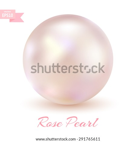 Pink pearl isolated on a white background. Glamorous design. Vector illustration.