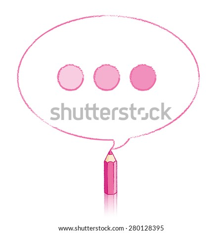Pink Pencil with Reflection Drawing Oval Speech Bubble containing Tinted Ellipsis on White Background - stock vector