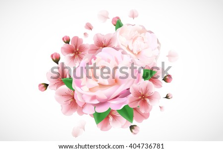 Pink peony soft macro panoramic template with copy space for your text. can be used as greeting card, invitation card for wedding, birthday and other holiday, spring and summer background - stock vector
