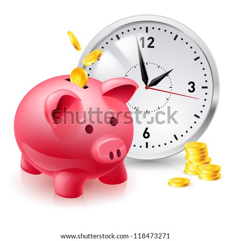 Pink pig bank with coins and clock. Illustration of designer on  white background - stock vector