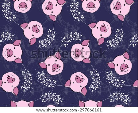 Pink pig pattern - stock vector
