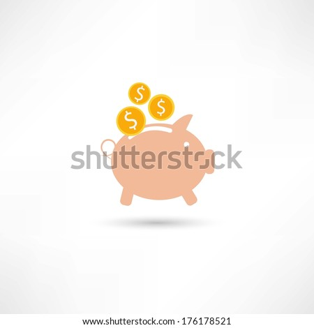 pink pig with money - stock vector