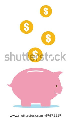 pink piggy bank and money - stock vector