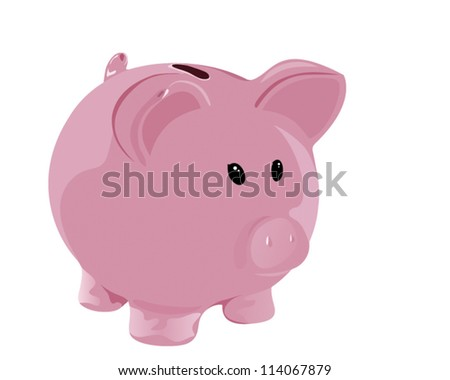 Pink piggy-bank (vector illustration isolated on white) - stock vector
