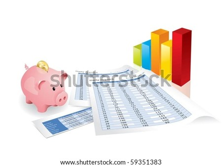 Pink piggy bank with chart and statistics (editable vector format) - stock vector