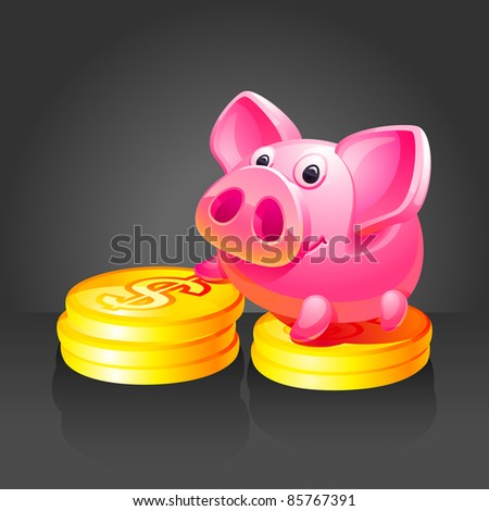 Pink piggy bank with gold coins. Black background - stock vector