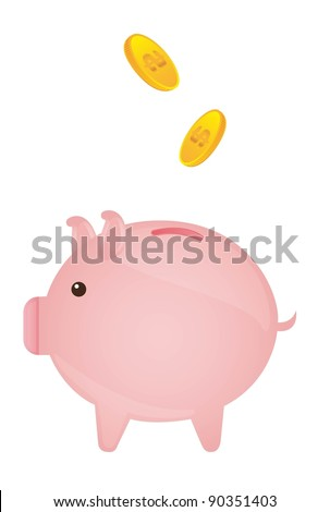 pink piggy with gold coins over white background. vector - stock vector