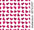 Pink pixel heart seamless background pattern. Vector illustration. - stock vector