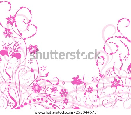 pink plant frame for your design - stock vector