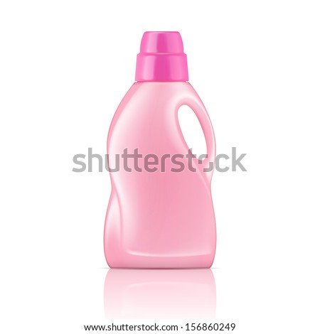 Pink plastic bottle for liquid laundry detergent, cleaning agent, bleach or fabric softener. Packaging collection. Vector illustration. - stock vector