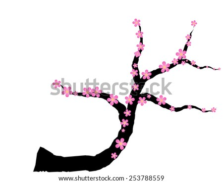 Pink plum blossom on white background - stock vector