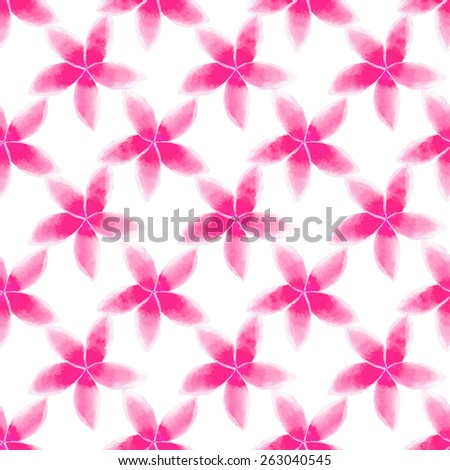 Pink plumeria. Watercolor seamless pattern with flowers on the white background, aquarelle. Vector illustration. Hand-drawn decorative element. Real watercolor painting - stock vector