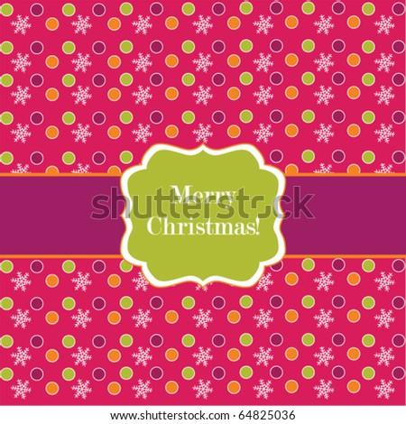 Pink polka dot design frame with snowflakes, Christmas card - stock vector