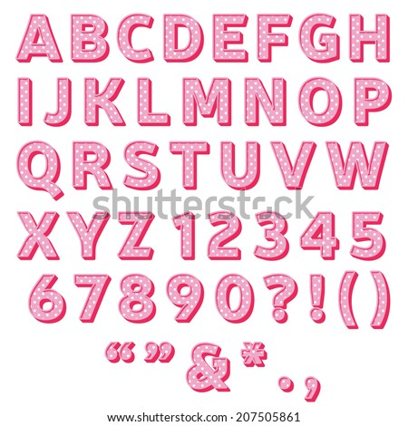 pink polka dot font collection,sweet 3d alphabet