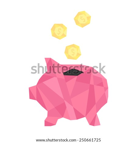 pink polygonal piggy bank with golden coin. concept of savings, deposit policy, nest egg, money for a rainy day and thrift. isolated on white background. trendy modern logo design vector illustration - stock vector