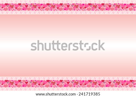 Pink postcard with two ribbons of hearts