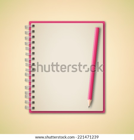 Pink Realistic Notebook and Pencil Vector  - stock vector