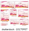Pink reception card set 4. To see similar, please visit my gallery. - stock vector