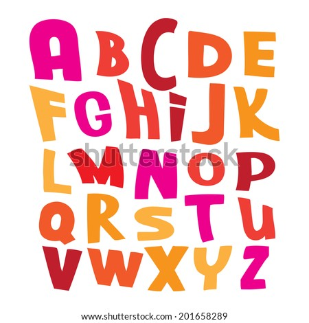 Pink, red and yellow vector alphabet letters on white illustration - stock vector