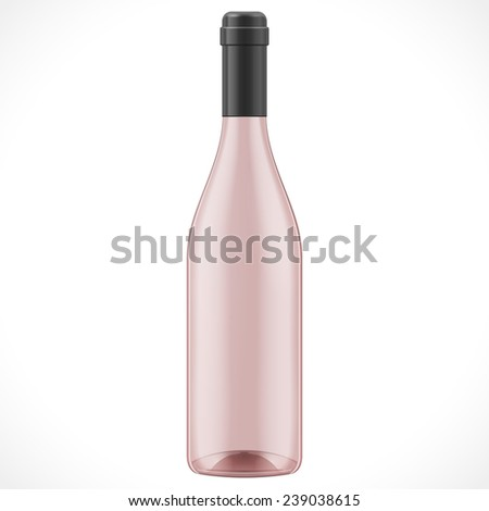 Pink Red Brown Glass Wine Cider Bottle On White Background Isolated. Mock Up Template Ready For Your Design.  - stock vector