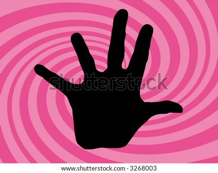 pink retro twirl background with a hand (vector eps format) - stock vector