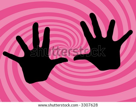pink retro twirl background with hands (vector eps format) - stock vector