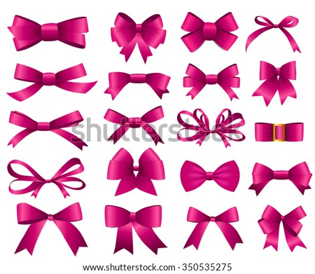 Pink Ribbon and Bow Set for Your Design. Vector illustration EPS10 - stock vector