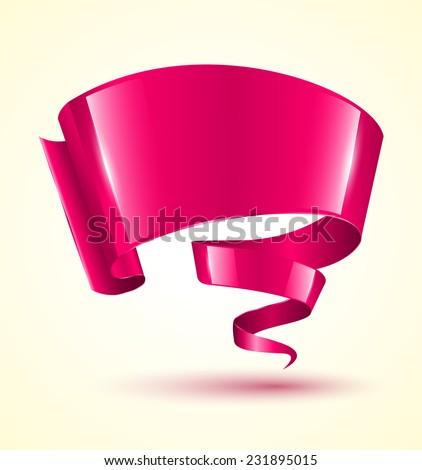 Pink ribbon banner twist. Vector illustration. - stock vector