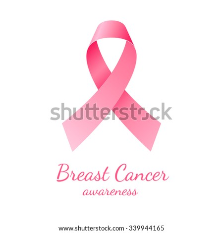 Pink ribbon, breast cancer awareness symbol on white background - stock vector