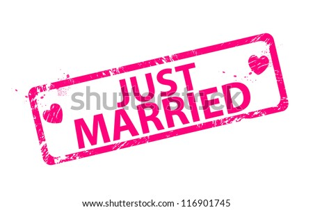 Pink romantic just married stamps - stock vector