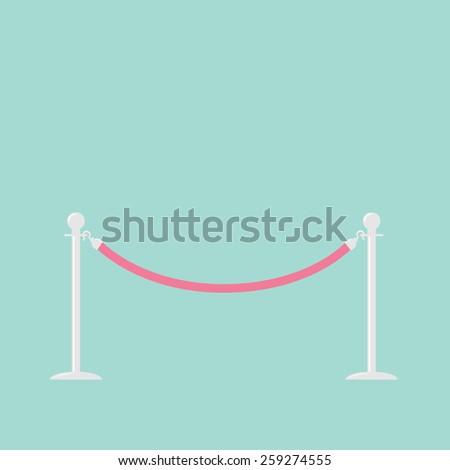 Pink rope barrier stanchions turnstile Flat design Vector illustration  - stock vector