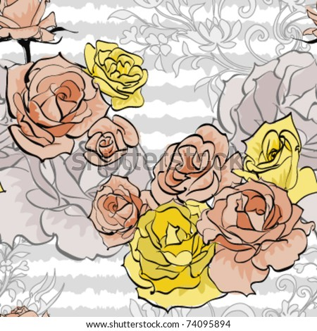 pink rose and yellow rose on white stripe background,vector - stock vector