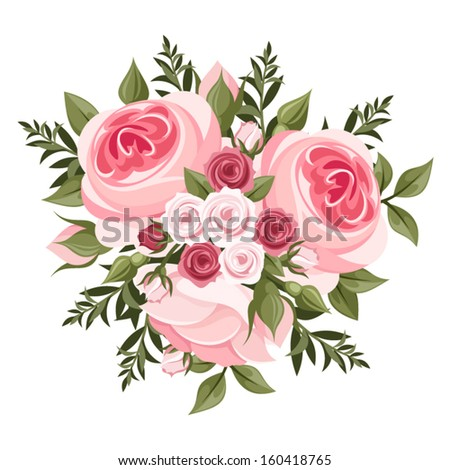 Pink roses bouquet. Vector illustration. - stock vector
