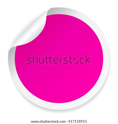 Pink round sticker vector illustration isolated on white background - stock vector