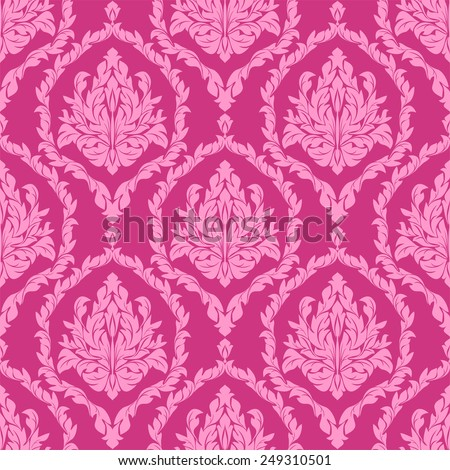 Pink seamless floral Wallpaper. - stock vector