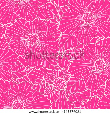 Pink seamless pattern with big flowers. - stock vector