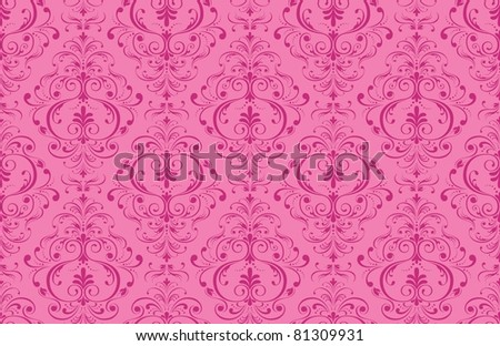 Pink seamless texture, wall-paper, floral ornament. Vector illustration. - stock vector