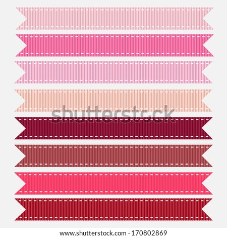 Pink Shades Stitched Grosgrain Ribbon, Vector. Also see other color sets.  - stock vector