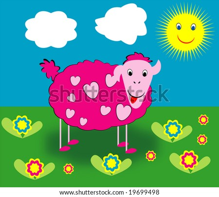 Pink sheep with hearts pattern - stock vector