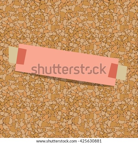 pink sheet of paper for notes taped to a corkboard - stock vector