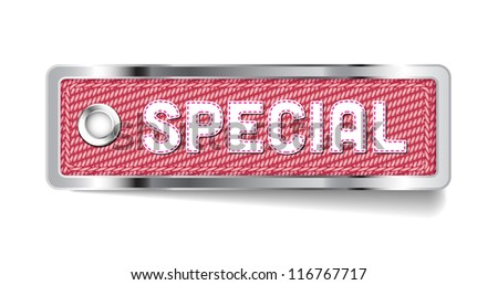 Pink shiny metallic chrome vector Special tag with fabric and stitched letters