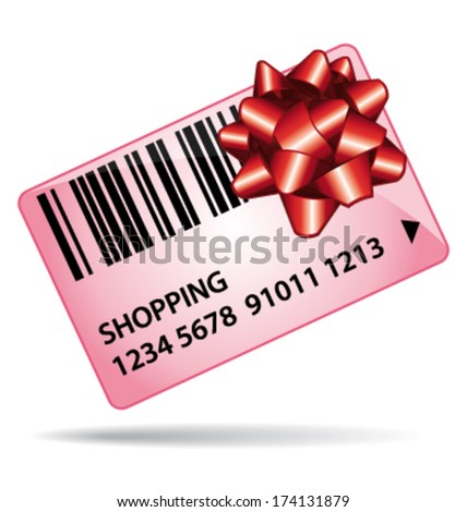 Pink shopping gift card. Loyalty coupon or gift certificate. Vector icon. - stock vector