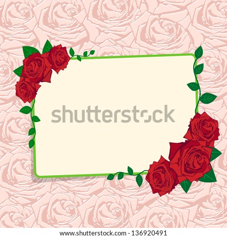 Pink silhouette of rose. Flowers background - stock vector